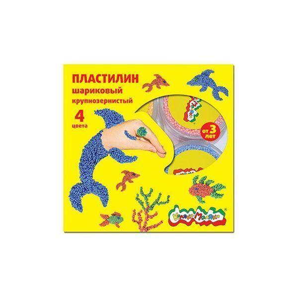 Пластилин Каляка-Маляка шариковый крупнозернистый 4 цв. 12 г, 3+