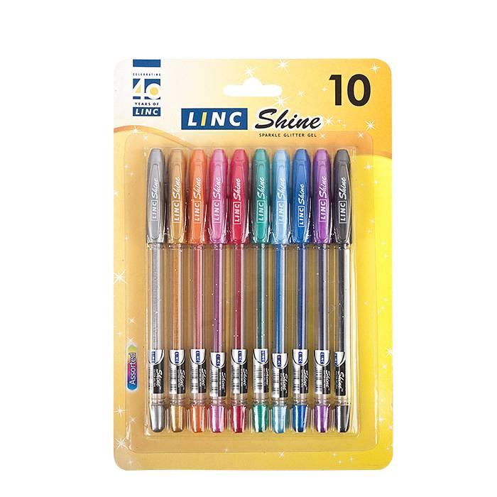 Набор гелевых ручек LINC SHINE 1 мм ассорти с блестками 10 цветов