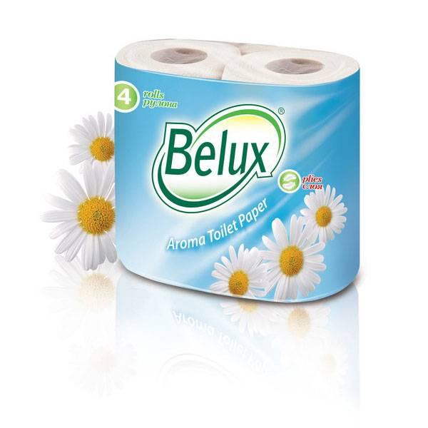 Туалетная бумага, 2 слоя, BELUX, ромашка, 4 шт, белый, целлюлоза