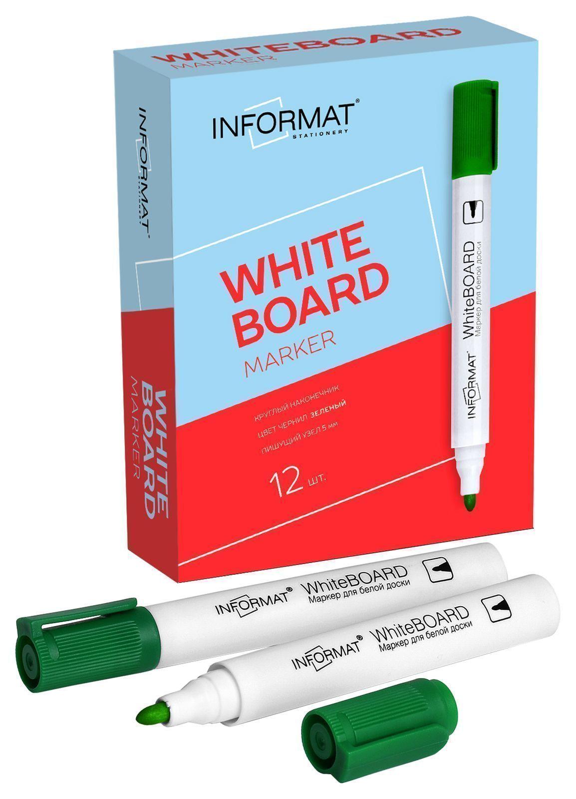 Маркер для досок INFORMAT Whiteboard 5 мм зеленый круглый