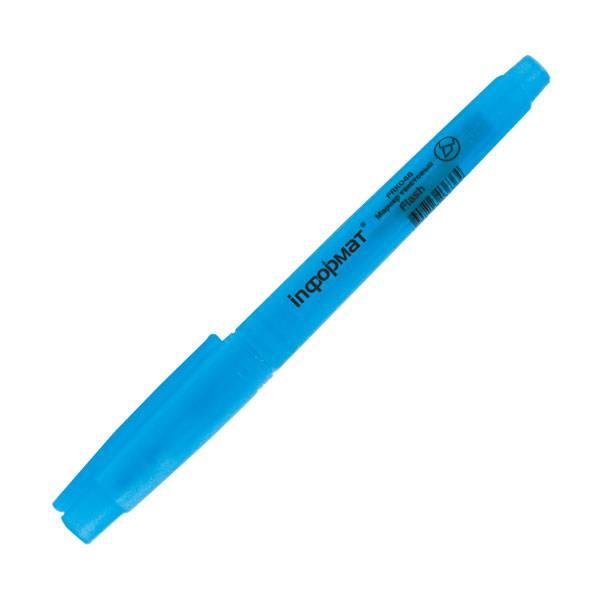 Маркер текстовый inФОРМАТ FLASH 1-4 мм голубой скошенный флуоресцентный