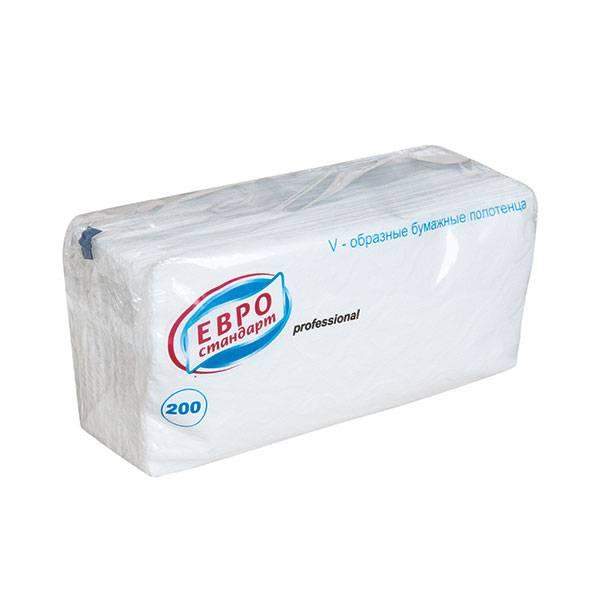 Полотенце бумажные ЕВРОСТАНДАРТ, 1 слойные, V(ZZ)-сложение с тиснением, 21х24 см, 200 л., белый