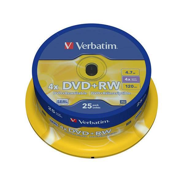 DVD+RW 4.7Gb Verbatim 4х 25шт туба