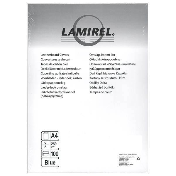 Обложка для переплета LAMIREL DELTA А4 картон 230 г/м² текстура кожа, синяя 100 штук