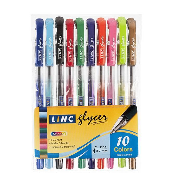 Набор шариковых ручек LINC GLYCER 0,7 мм 10 цветов ассорти резиновый грип