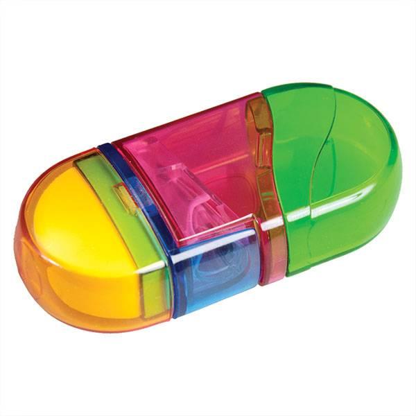 Точилка Schoolformat ТВИСТЕР с контейнером и ластиком пластиковый корпус