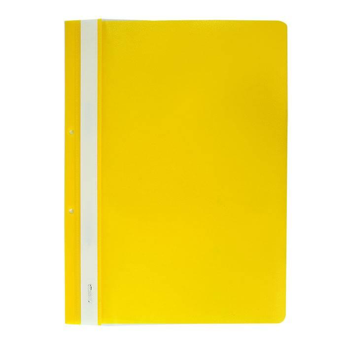 Папка-скоросшиватель Stanger А4, желтая, пластик 180 мкм, карман для маркировки