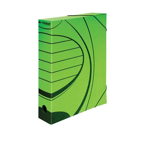 Папка с резинкой inФОРМАТ А4 75 мм микрогофрокартон зеленая
