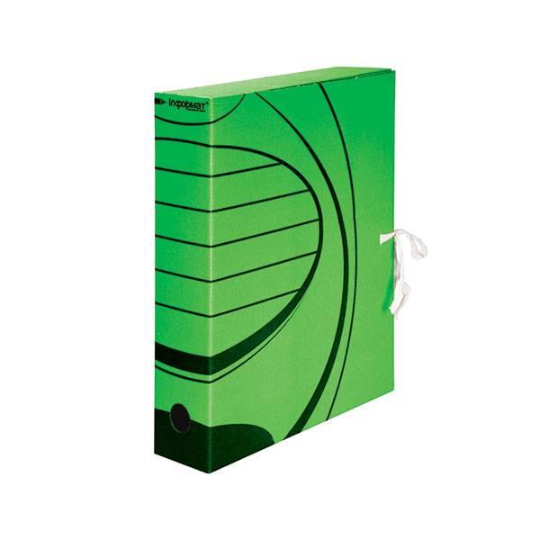 Короб архивный inФОРМАТ 75 мм А4 зеленый, микрогофрокартон, собран