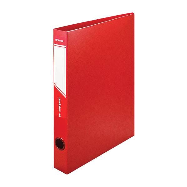 Папка с кольцами inФОРМАТ А4, 2 кольца, 40 мм, пластик 700 мкм, красная