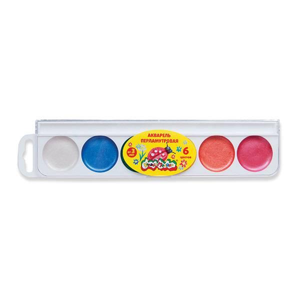Акварель Каляка-Маляка ПЕРЛАМУТР, 6 цветов, круглый кювет, пластиковая упаковка, без кисти, европодвес