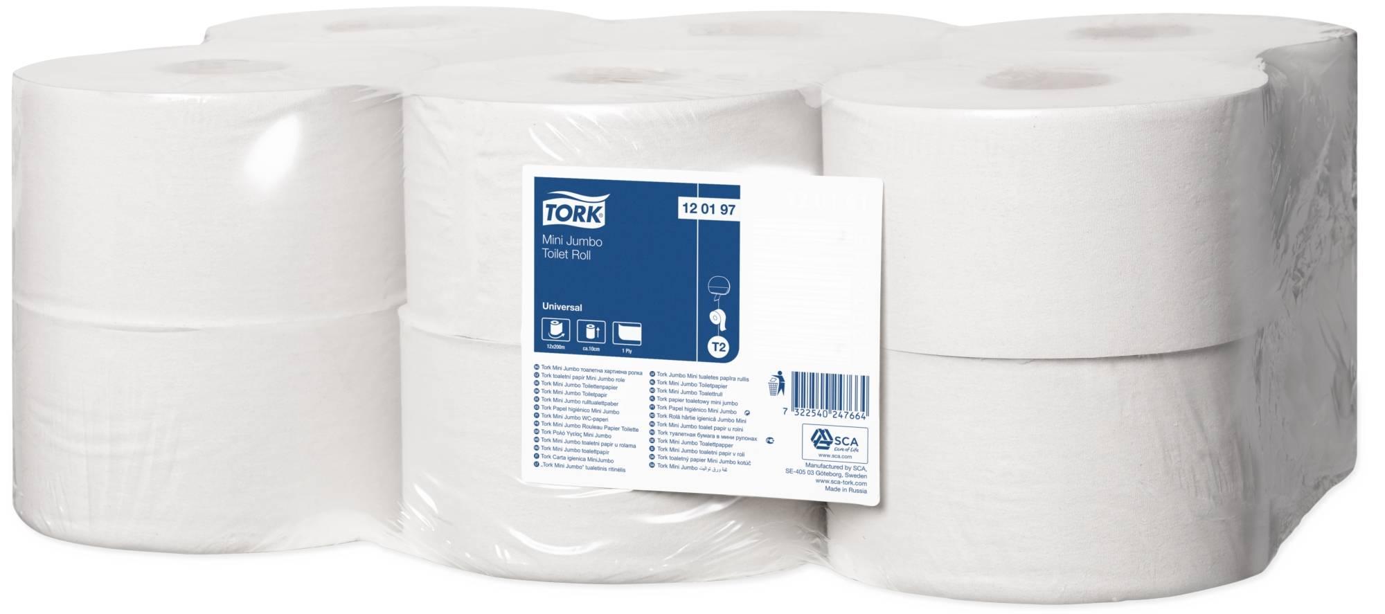 Туалетная бумага, TORK UNIVERSAL T2, 1 слойная, без перфорации, 9,5смх200 м, натур.
