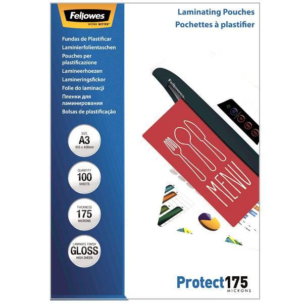 Пленка для ламинирования FELLOWES А3 А3 (303х426 мм) 175 мкм глянцевая