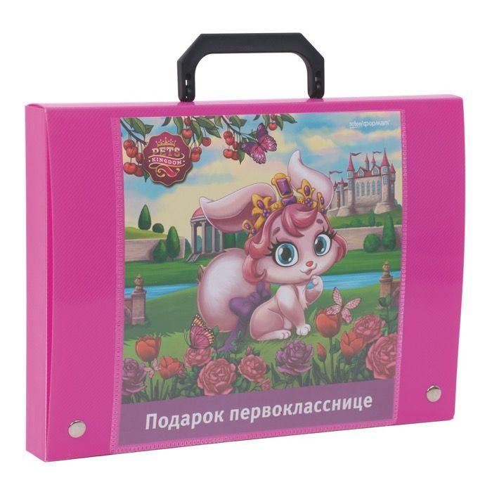 Портфель ПОДАРОК ПЕРВОКЛАССНИКУ ЦВЕТОЧНЫЕ ФЕИ 1 отделение розовый пластик наполненный