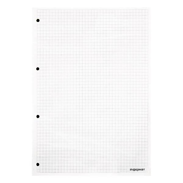 Сменный блок inФОРМАТ для тетради на кольцах А4 100 листов в клетку белый, линовка: серый