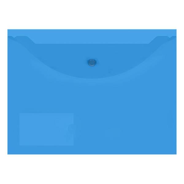 Пластиковый конверт inФОРМАТ А4 на кнопке, с карманом, прозрачный 150 мкм, синий