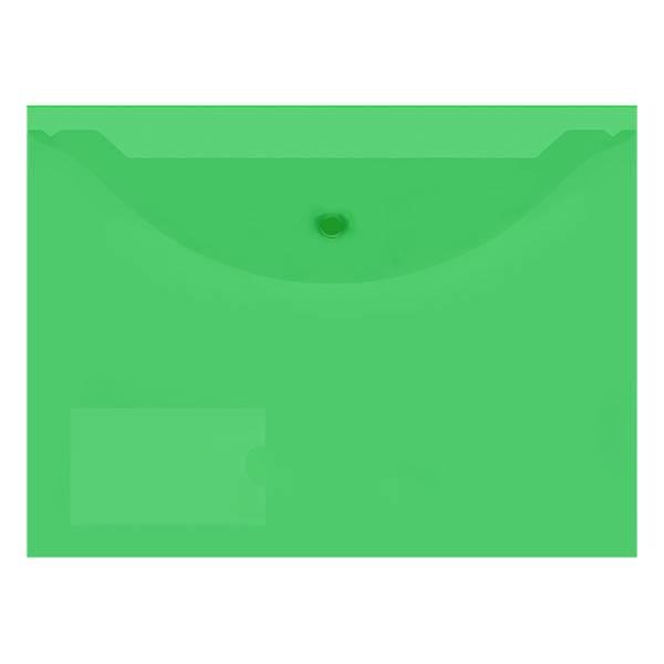 Пластиковый конверт inФОРМАТ А4, на кнопке, с карманом, прозрачный 150 мкм, зеленый