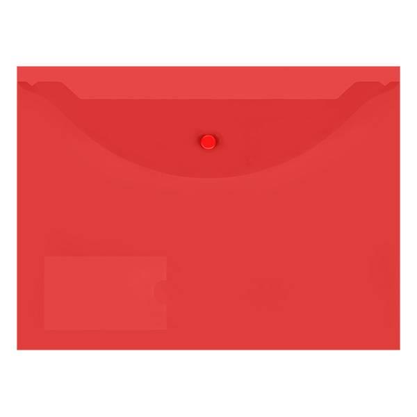 Пластиковый конверт inФОРМАТ А4, на кнопке, с карманом, прозрачный 150 мкм, красный