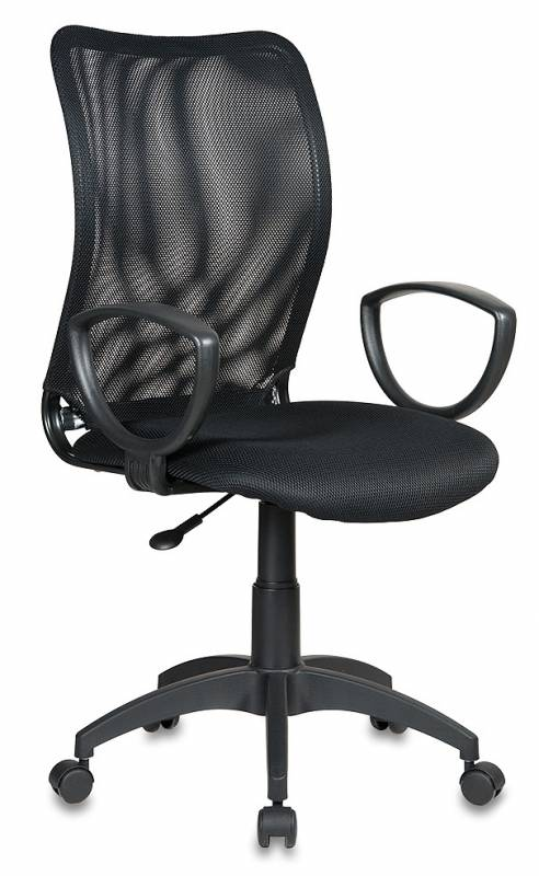 Кресло БЮРОКРАТ TW-11 черное, крестовина и подлокотники пластик, обивка ткань, спинка сетка