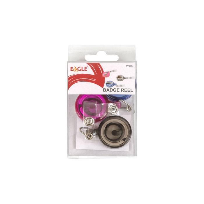 Держатель-рулетка для бейджей EAGLE 3 штуки в комплекте, ассорти