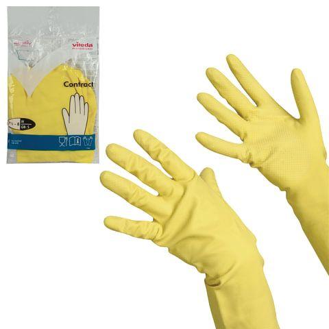 Перчатки VILEDA КОНТРАКТ резиновые c х/б напыление, размер M