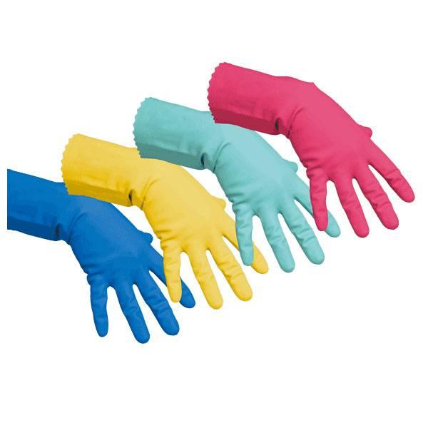 Перчатки VILEDA КОНТРАКТ резиновые c х/б напыление, размер L