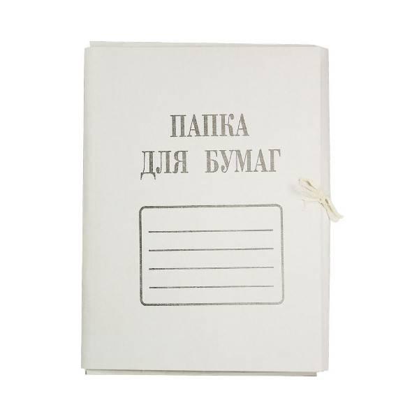 Папка с завязками ДЕЛО А4 немелованный картон 280 г/м2 белая