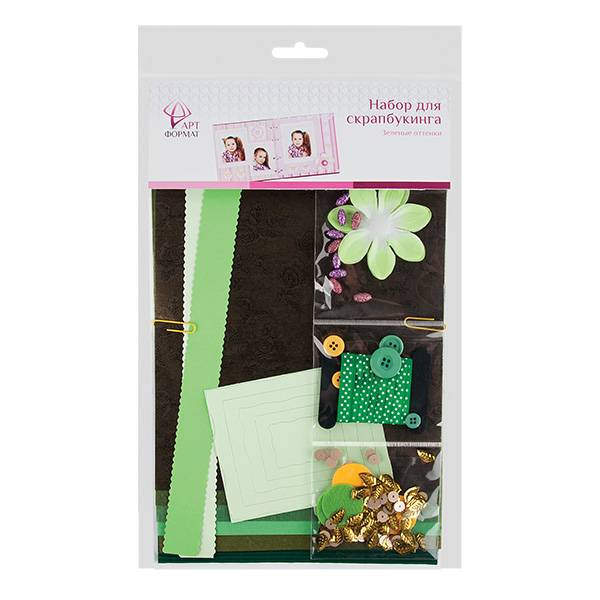 Набор для скрапбукинга, зеленые отенки
