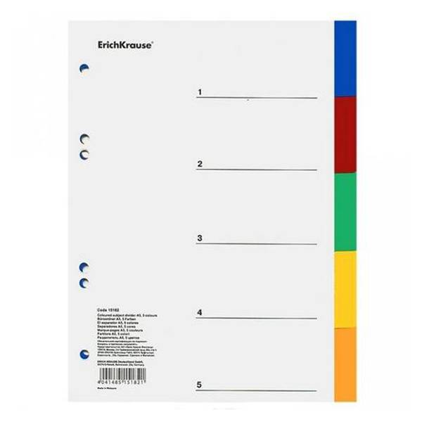 Разделитель ErichKrause А5, 5 цветов, пластик