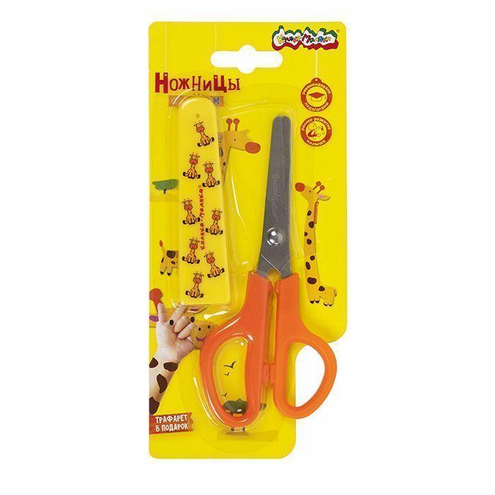Ножницы детские Каляка-Маляка 13 см, с металлическими лезвиями и пластиковым чехлом