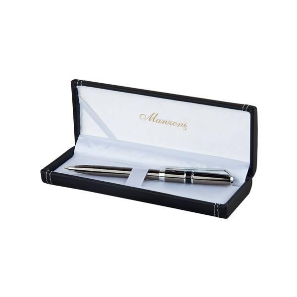 Ручка шариковая MONZA, темный металл, футляр кожзам