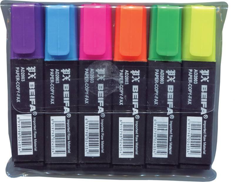 Набор текстовых маркеров BEIFA 1-5 мм ассорти скошенный 6 цветов