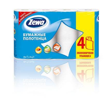 Полотенца бумажные, 2 слоя, ZEWA NEW, 4 шт, белый