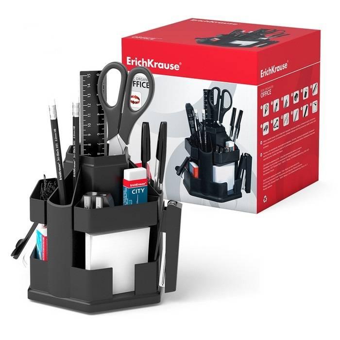 Настольный набор ERICH KRAUSE ОФИСНЫЙ 12 предметов, вращающийся, черный, пластик