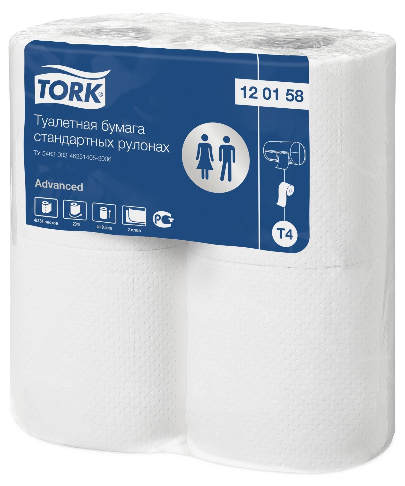 Туалетная бумага, TORK ADVANCED T4, 2 слойная, 4 шт, белый, 184 л.