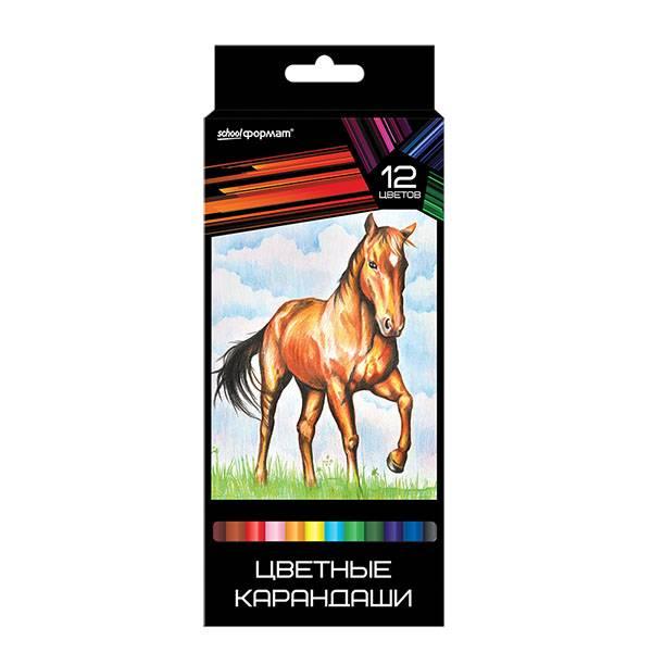 Карандаши цветные ДИКАЯ ПЛАНЕТА 12 цветов, повышенная мягкость, увеличенный диаметр