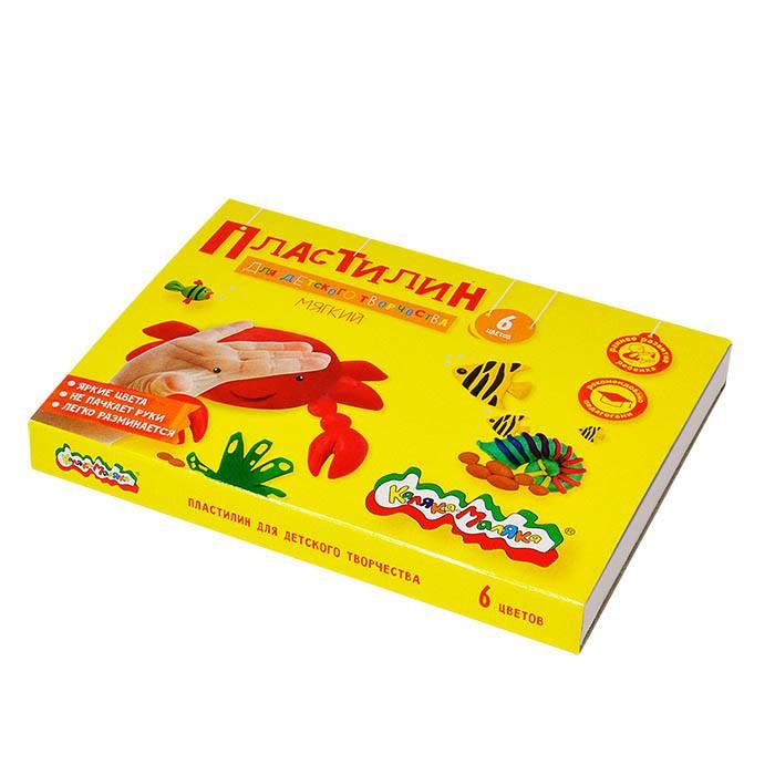Пластилин повышенной мягкости Каляка-Маляка 6 цветов, 90 г со стеком
