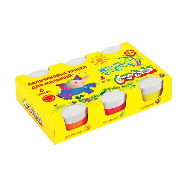 Краски пальчиковые для малышей Каляка-Маляка 60 мл, 6 цветов 1+