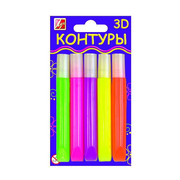 Контуры 3D флуоресцентные набор 5 цв.(туба 10 мл)