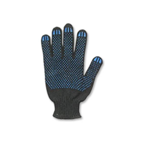 Перчатки Текстиль К трикотажные c точечным ПВХ покрытием, 5-ти нитка, 10 класс, черные