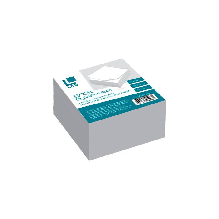 Блок для записей непроклеенный LITE КУБ 90х90х50 мм, белый (белизна 92%)