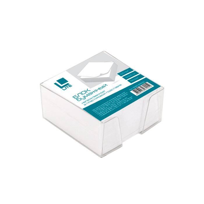 Подставка для блок-кубиков LITE с белым блоком для записей 90х90х50 мм, прозрачная
