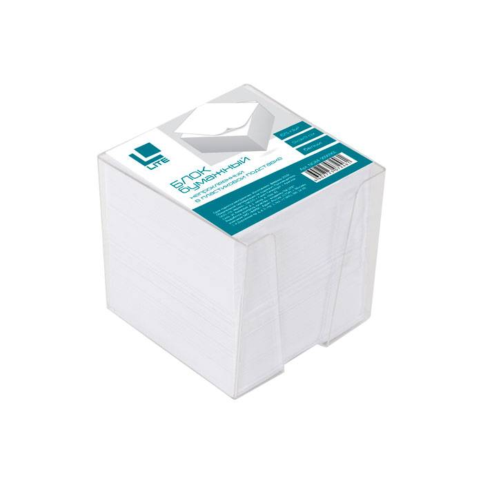 Подставка для блок-кубиков LITE с белым блоком для записей 90х90х90 мм, прозрачная