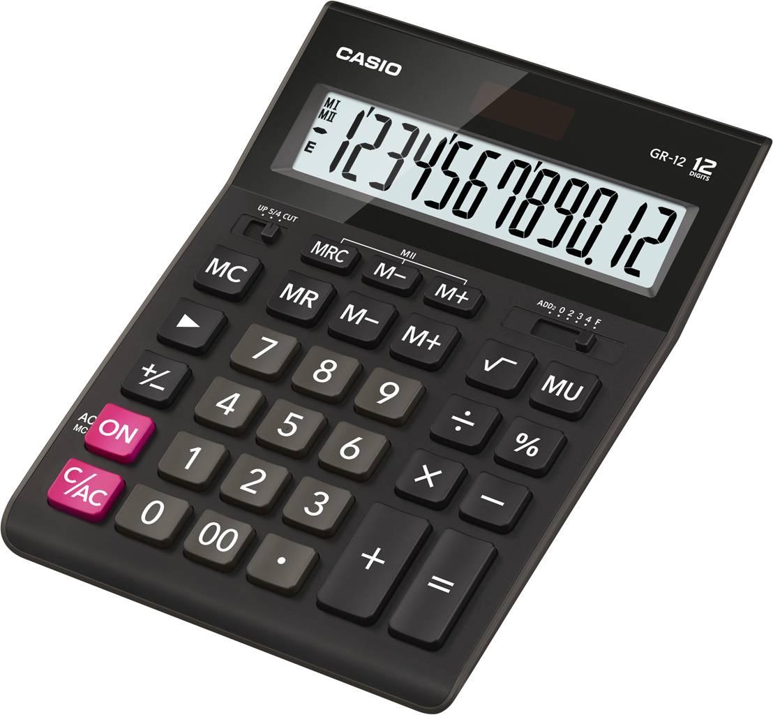 Калькулятор настольный CASIO GR-12, 12-разрядный черный
