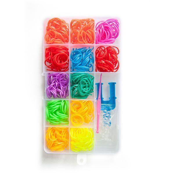 Набор резинок для плетения браслетов ПРЯМОУГОЛЬНИК 600 шт. разноцветные, пластиковая упаковка