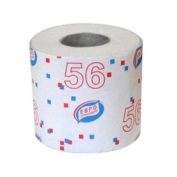 Туалетная бумага, 1 слойная, ЕВРОСТАНДАРТ, 56 на втулке