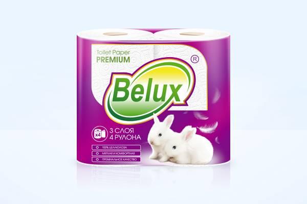 Туалетная бумага, 3 слоя, BELUX, 4 шт, белый