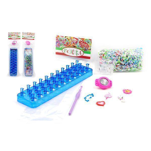 Развивающий набор для плетения из резиночек №1-3, часы, 500 шт, 30x7x2,5 см, 1 крючок, 1 станок, аксессуары
