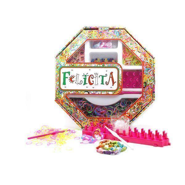 Развивающий набор д/плетения из резиночек №4-2 30х30х4,5 см 2 крючка + 2 станка + БУКВЫ + аксессуары