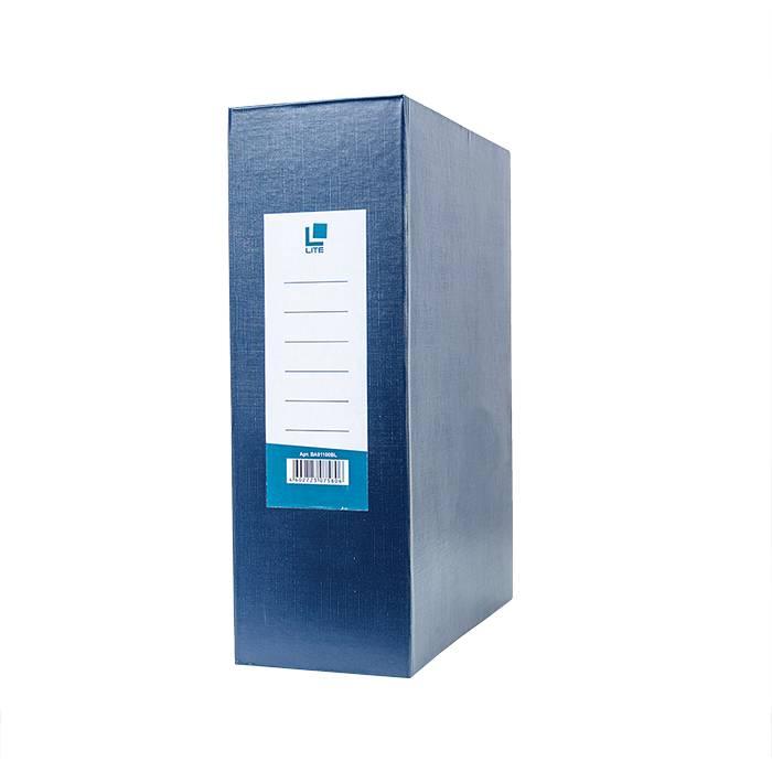 Короб архивный LITE 100 мм А4, синий, бумвинил, разобран
